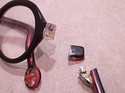 メガネ修理 - セルフレームのヨロイ折れ